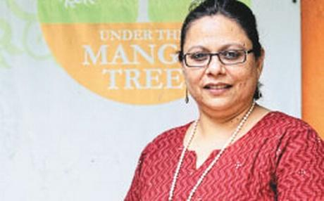 Vijaya Pastala, woman, entrepreneur, utmt, under a mango tree